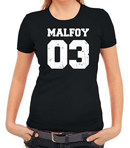 Fanartikel Fan Kult Film Trikot Damen T-Shirt Malfoy 03, Größe: L,schwarz
