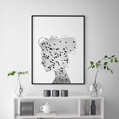 VVSUN Arte nórdico escandinavo impresión en Lienzo Cuadro de Pared pájaros voladores niña Lienzo Pintura Cartel decoración Moderna para Sala de Estar 50X70cm 20x28 Pulgadas sin Marco