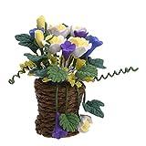 1:12 Puppenhaus Miniatur Rose Blume Bonsai Woven Basket Garten Wohnzimmer Ornament Dekor
