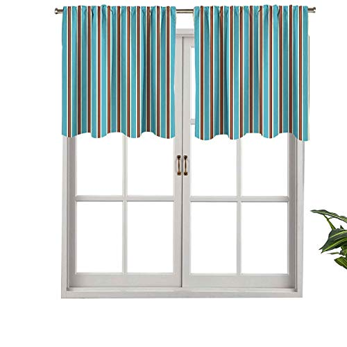 Hiiiman Indoor Privacy Window Valance Curtain Panel Pale Colored Background with Vertical Lines Geometrical Design St, Set of 2, 54'x36' for Sliding Patio Door/Dining
