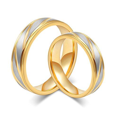 Rockyu ジュエリー ブランド メンズ レディース リング チタン ゴールド 18金メッキ 結婚指輪 婚約指輪 ペアリング 金 おしゃれ 男性指輪 ハワイアンジュエリー 個別販売 (男9)
