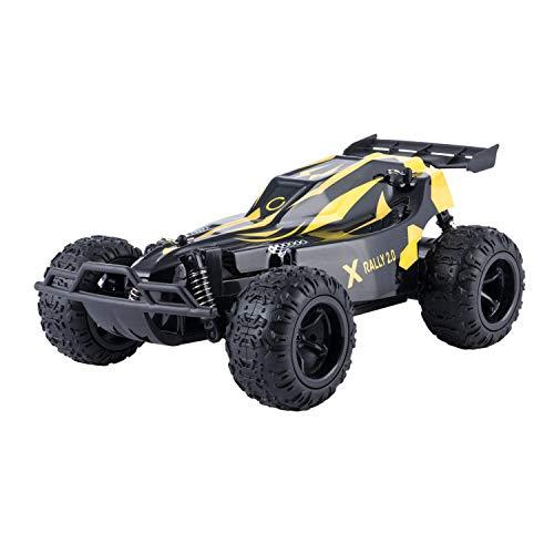 Overmax X-Rally zdalnie sterowany samochód RC Auto Zasięg do 100 metrów prędkości do 25 km h wzmocniona konstrukcja niezależne zawieszenie, czarno-żółta