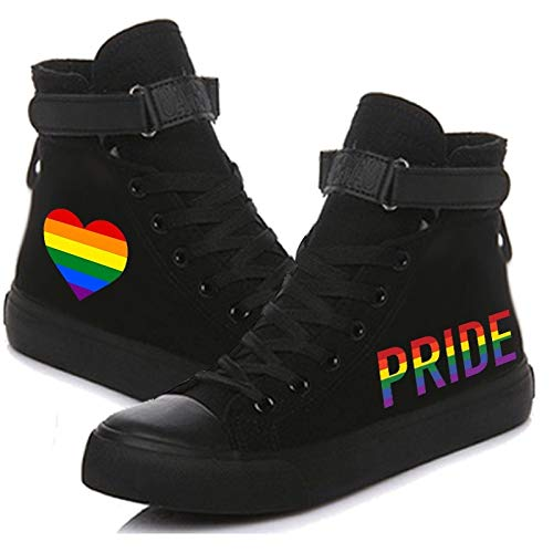 Unisex Adult Rainbow Stripe Heart and June Pride LGBT Printed Canvas Shoes Lace Up Sneakers Tennis