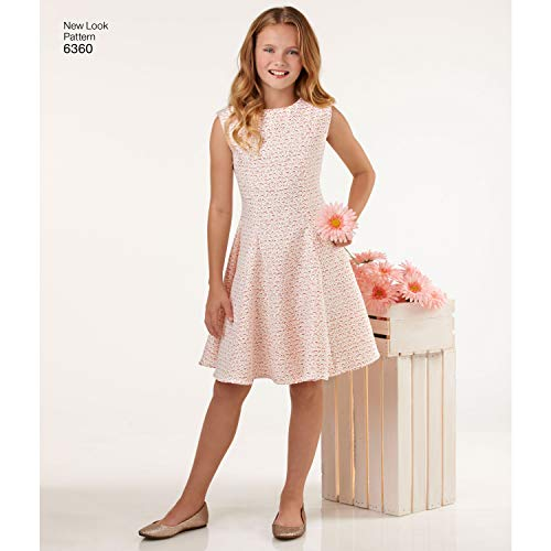 Simplicity Vintage New Look Patterns UN6360A Girls' Sized for Tweens Dress, A (8-10-12-14-16)