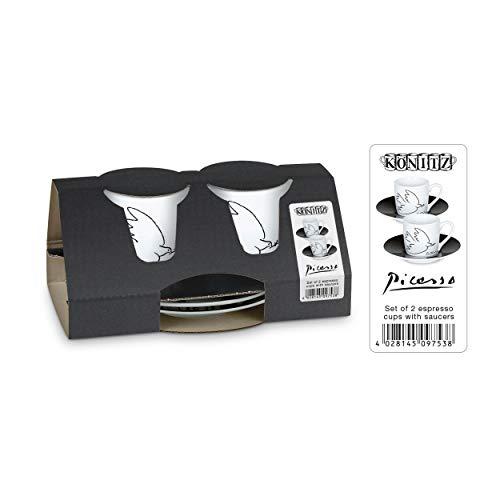 Könitz Picasso La Colombe De La Paix Espresso Geschenkset, 4-tlg., 2 Espresso Tassen mit Untertasse, Porzellan, 85 ml, 11 5 054 1989