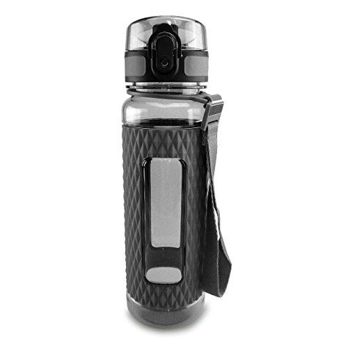 SMARDY Tritan Wasserflasche Trinkflasche grau - 450ml - aus BPA-freiem Kunststoff - Luxury Line - umweltfreundlich - mit Siebeinsatz für Früchte
