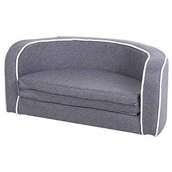 Pawhut Canapé Chien lit pour Chien Chat Grand Confort Coussin Moelleux Extensible dim. 75L x 40l x 31H cm Lin Gris