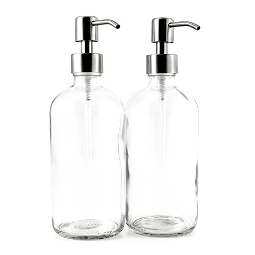 Cornucopia Brands 16Ounce Clear Glass Boston Round Bottles w/Stainless Steel Pumps 2 Pack Soap Dispenser Great for Essential Oils Lotions Liquid Soaps