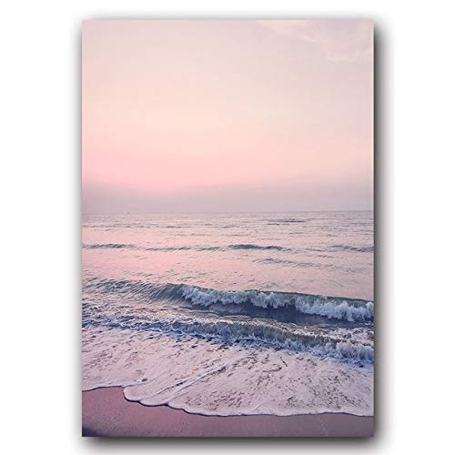 Pink Purple Landscape Poster Beach Snow Mountain Feather Life Beautiful Home Wall Art Decoration Canvas Painting Picture 60x80cm