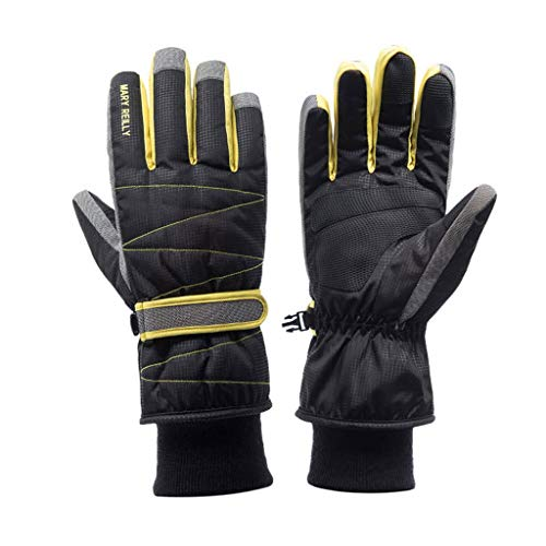 Chenguojian Winter Ski Gloves Men Touch Screen Waterproof Windproof Riding Motorcycle Cold Weather Gloves Plush Cotton Thickened Snow Gloves (Color : Black)
