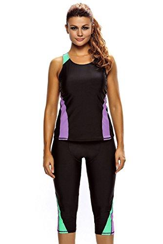 Cfanny Women's Two Pieces Set Tankini Plus Size Swimwear Wetsuit Sport Swimsuit,Black,XXXL