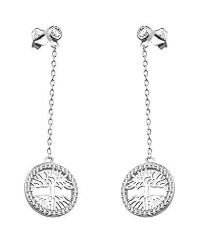 SOFIA MILANI - Damen Ohrringe 925 Silber - mit Zirkonia Steinen - Lebensbaum Ohrstecker - 20525