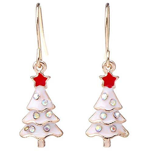 YIJOY Ohrringe Weihnachtsohrringe Koreanische Weihnachtsglocke Halskette Ohrring Armband Ring FüR Beste Freundin Geschenke(Weißer Weihnachtsbaum,1 Paar)