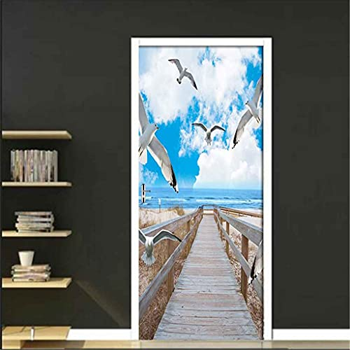 CUUDBP 3D Etiqueta De La Puerta, Paisaje De Puente De Madera De Playa De Cielo Azul Impermeable Extraíble Pegatinas De Pared Pintura Mural Autoadhesivos Papel Tapiz Para Puertas Interiores Dormitorio
