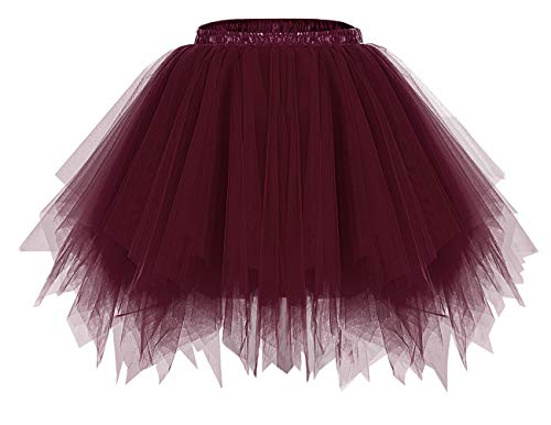 Bridesmay Mujeres Faldas Enaguas Cortas Tul Plisada Fiesta Tutu Ballet Burgundy XL