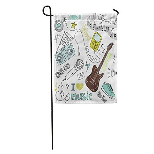 Garten Flagge Mp3 Musik Kritzeleien Clipart Ausschnitt Tanzgitarre Liebe Mikrofon Abstrakt Home Yard House Dekor Barnner Outdoor Stand 12.5 'x 18' Flagge