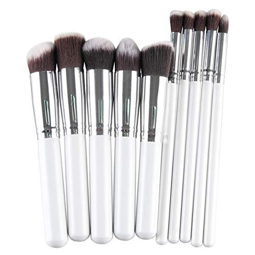 SDHF Maquillage professionnel Pinceaux Fondation Blending fard à joues Ombre à paupières Contour Femmes Beauté maquillage Outils Up cosmétiques, 10 pièces (Couleur : White Silver, Size : One Size)