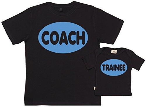 Spoilt Rotten SR - Exklusive Geschenkbox - Coach & Trainee 100% Biobaumwolle - Papa T-Shirt & Baby T-Shirt in Geschenkbox - S, 0-6 Monate - Schwarz