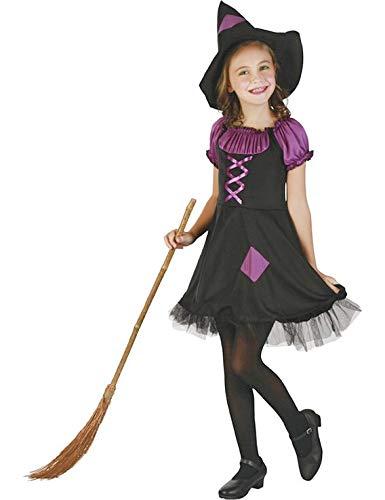 DEGUISE TOI - Déguisement sorcière Violette avec Chapeau Fille - L 10-12 Ans (130-140 cm)
