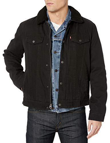 Levi's Men's Cotton Canvas Tucker Jacket with Sherpa Collar, Black, X-Large