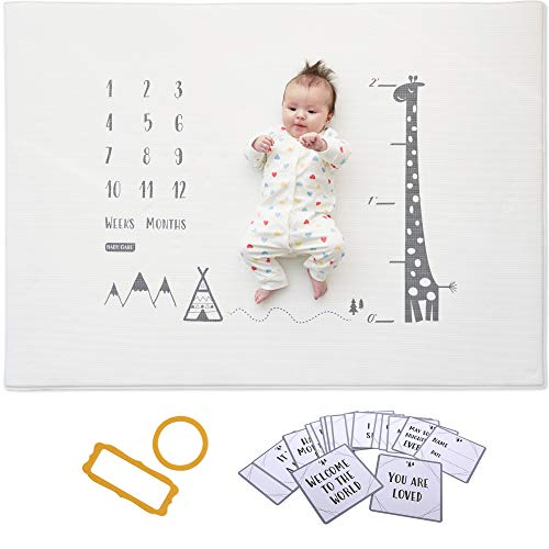 Baby Care Milestone Play Mat – Growing Up with Giraffe – Monthly Milestone Infant Play Mat – Baby Tummy Time – Photo Background mat – for Infant Boy Girl Unisex Maternity Gift