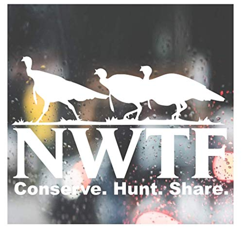 Custom Decal Car for NWTF LOGO National Wild Turkey Federation Pro 2nd Hunting NRA for Car, Truck, Jeep, Funny, Tumbler, Window, Motorcycle, Helmet, Bumper, Decal for Laptop, Phone, Home Decoration / 5 in x 8in / White