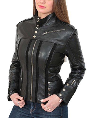 House Of Leather Mujer Cuero de Cordero Genuina Estilo del Biker Chaqueta Casual Ajustada Jenny Negro (L (40)) (Ropa)