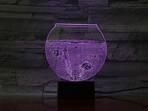 Aquarium 3D illusie lamp LED nachtlampje met 7 kleuren wijzigen en afstandsbediening verjaardag en kerstcadeau voor kinderen slaapkamer decoratieve tafellamp