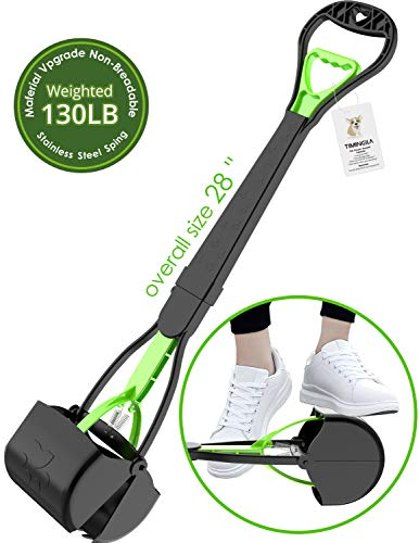 TIMINGILA 28 Long Handle Pet Pooper Scooper for Dogs and Cats with High Strength Material and Durable Spring Easy to Use for Grass, Dirt, Gravel Pick Up (Green)