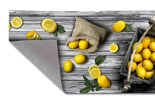HomeLife Tappeto Cucina Antiscivolo Lavabile in Vinile 52X300 Made in Italy | Passatoia Antimacchia in PVC Interni ed Esterni Stampa Limoni | Tappeti Runner Lungo in Gomma [300 cm]