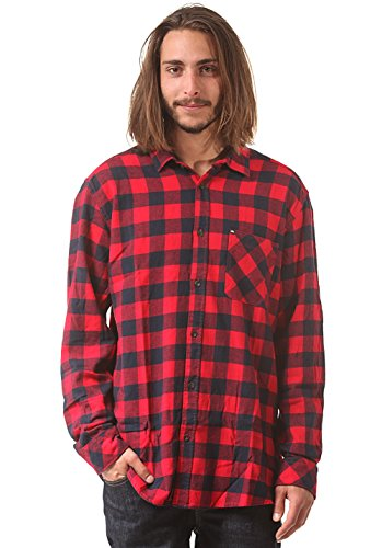 Quiksilver Gulls - Chemise casual - Coupe large - Col classique - Manches longues - Homme - Rouge (Gulls Quikred) - Medium (Taille fabricant: M)