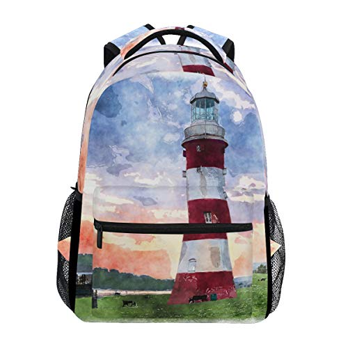 Hunihuni Watercolor Lighthouse - Mochila para el Colegio y la Escuela, con Bolsa de Hombro, para niños, niñas, Hombres y Mujeres