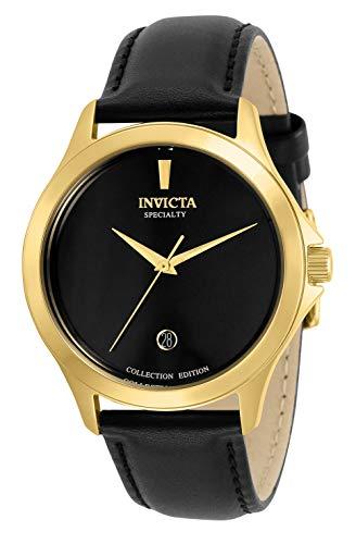 Invicta Reloj de cuarzo para hombre Specialty acero inoxidable con correa de piel, negro, 20 (modelo: 31123)