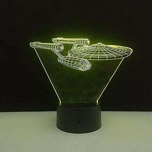 Lámpara De Ilusión Óptica Led 3D Luz De Noche Modelo De Acorazado 16 Colores Interruptor Táctil Lámpara De Mesita De Noche Usb Con Decoración De Escritorio Para Dormitorio Lámpara Para Niños R
