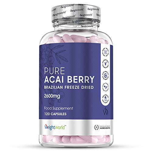 Pure Acai Berry Tablets - 2600mg Strength Servings - 120 Capsules (2 Month Supply), Natural Freeze Dried Acai Berries for Diet & Detox, High Vitamin Complex & Antioxidant Supply Vegetarian Supplement