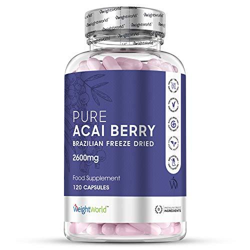 Acai Berry Cápsulas Dosis Alta 2600mg 120 Cápsulas - Suplemento Para Adelgazar, Potente Diurético Antioxidante, Mejora Sistema Inmunólogico, Fuente de Vitamina C y Omega 6 y 9, Controla Colesterol