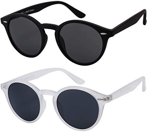 Sonnenbrille Herren Damen La Optica UV400 CAT 3 Retro Vintage Hippie Rund Round - Set Gummiert (1 x Grau, 1 x Transparent Durchsichtig)