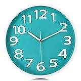 Lafocuse Reloj de Pared Verde Turquesa Niño Moderno Decorativos Silencioso Interior Redondo 30 cm Reloj Cuarzo Grandes Números sin Tic TAC para Salon