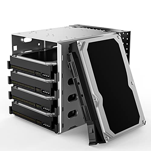"""Hard Drive Cage, Stainless Steel Cage Hard Drive Tray Rack with Fan Space, Adapter Rack Bracket SATA 5.25"""" to 5X 3.5 Rack PC Supplies for Computer SAS"""