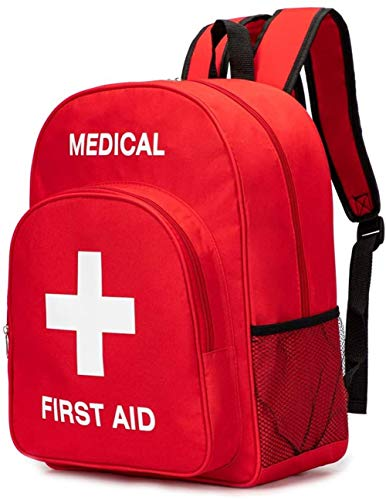 DYHQQ Red First Aid Bag Empty First Aid Backpack Empty Medical Storage Bag for First Aid Kits Pack Emergency Hiking Backpacking Camping Cycling Travel Car