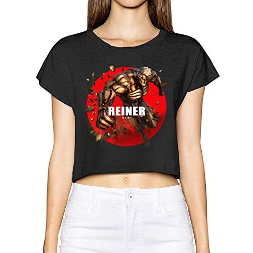 Gintamade Camiseta de manga corta para mujer, diseño de anime A-T-Tack On Titan Reiner Braun blindado Titan