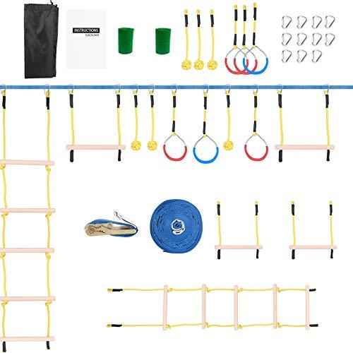 15M Slacklines Set Niños Ninja Warrior Carrera de obstáculos Slackline Completo Kit...