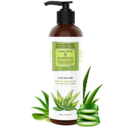 Aloe Vera Gel from Cold Pressed Organic Aloe - After Sun Care Sunburn Relief for Face, Body, and Hair - From Fresh Aloe Plants in USA Hydrating Gel for Sunburn - Made with 5 Ingredients (12 oz)