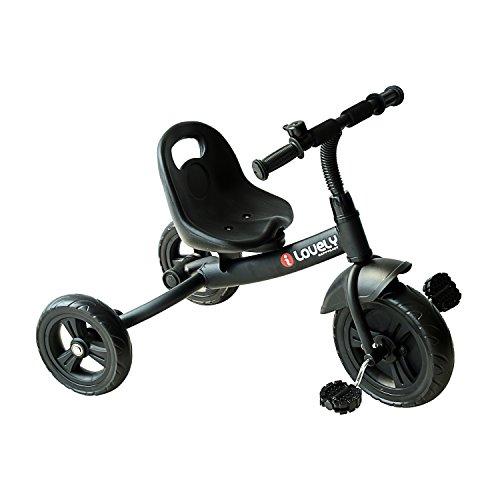 HOMCOM Tricycle Enfants Multi-équipé Garde-Boue Sonnette pédales antidérapantes siège réglable 2 Positions avec Dossier