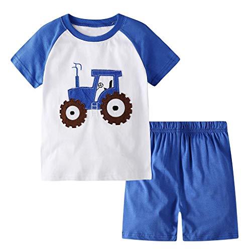 Julhold Kinder Kinder Jungen Hübsch Kurzarm Cartoon Baumwolle Slim Print T-Shirt Tops + Shorts Schlafanzug Set 1-7 Jahre