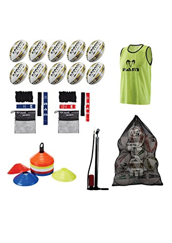 RAM Rugby Starter Bundle–Kugeln, Tags, Kegel, Lätzchen, Pumpe, Tasche–Erhältlich In Drei Größen–Senior, Jugend, Junior