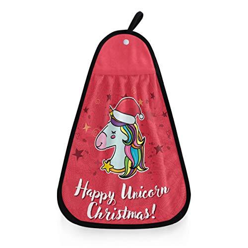 Kcldeci - Toalla de mano con diseño de unicornio navideño, para colgar en la cocina, para el invierno, árbol de Navidad, Papá Noel, caballo, animales, toallas, paños de limpieza para la cocina o el cuarto de baño
