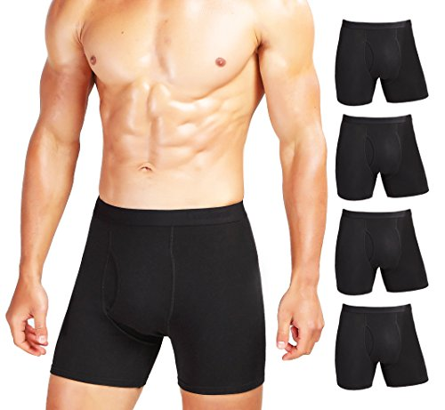 Comfneat Men's Comfy Boxer Brief Pack Tagless Underwear Soft Stretchy Cotton Spandex (Black Pack-5, Large)