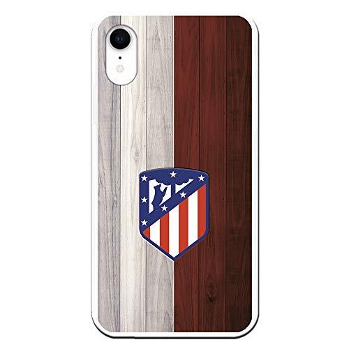 Funda para iPhone XR Oficial del Atlético de Madrid Madera para Proteger tu móvil. Carcasa para iPhone de Silicona Flexible con Licencia Oficial de Atlético de Madrid.