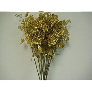 18″ Bouquet 12 Sprays Gold Gypsophila Baby Breath Filler Artificial Silk Flowers LivePlant